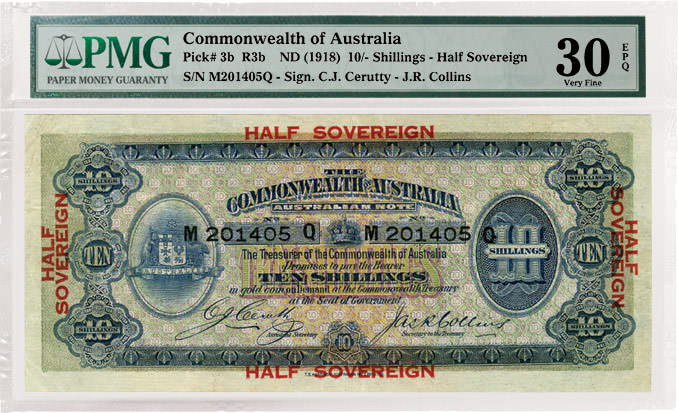 Commonwealth of Australia (ND) 1918 10-Shilling / Half Sovereign Front