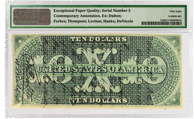 Pogue Collection, 1861 Fr#7a $10 Demand Note, PMG 58 EPQ Back