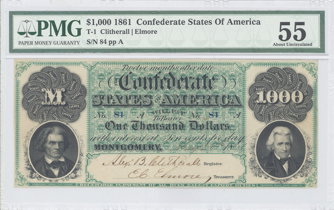 $1000 1861 Confederate States of America Note