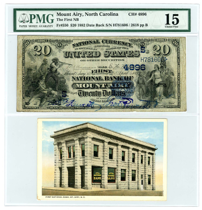 Mount Airy Fr#550 1882 Date Back $2