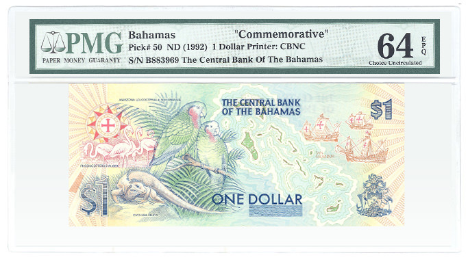Bahamas Pick# 50 ND (1992) 1 Dollar Printer: CBNC