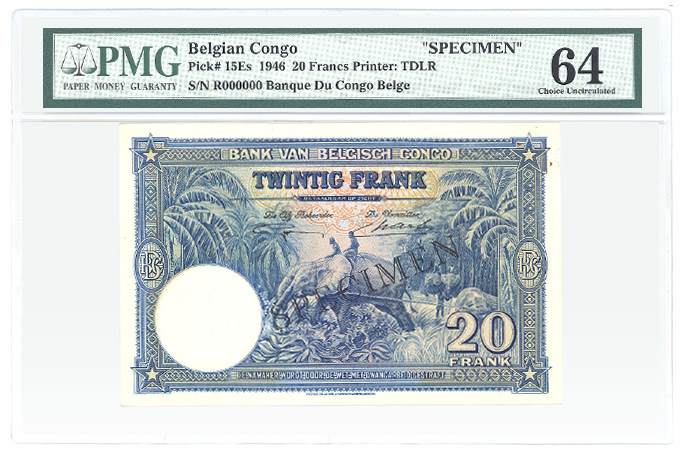Belgian Congo Pick# 15Es 1946 20 Francs Printer: TDLR