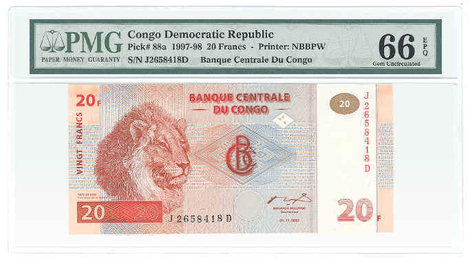 Congo Democratic Republic Pick# 88a 1997-98 20 Francs - Printer: NBBPW