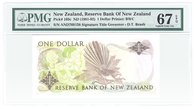 New Zealand Pick# 169c ND (1981-92) 1 Dollar Printer: BWC