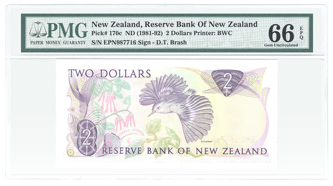 New Zealand Pick# 170c ND (1981-92) 2 Dollars Printer: BWC