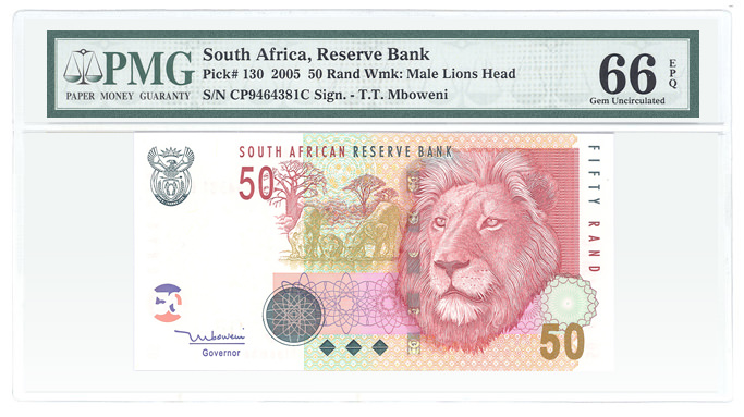 South Africa Pick# 130 2005 50 Rand Wmk: Male Lions Head